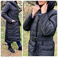 Зимова приталені куртка пуховик з поясом, артикул 032, колір чорний, фото 1