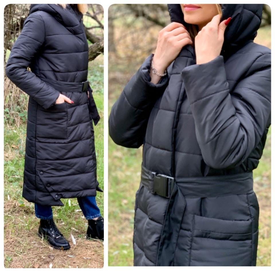 Зимова приталені куртка пуховик з поясом, артикул 032, колір чорний
