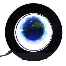 Глобус левитирующий. Парящий в воздухе глобус. летающий глобус с подсветкой. Синий., фото 2