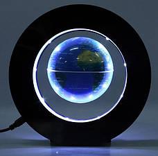 Глобус левитирующий. Парящий в воздухе глобус. летающий глобус с подсветкой. Синий., фото 3