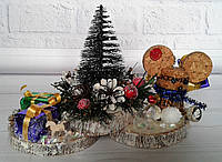Новогодняя настольная композиция - елка с подарками и мышкой. Новогодний декор своими руками