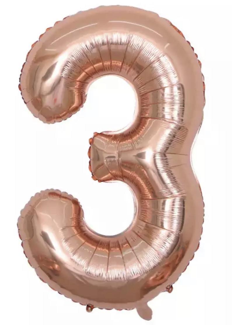 """Цифра слим розовое золото """"3"""" 40""""(100см)"""