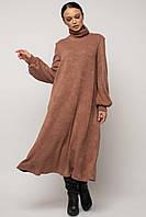 Свободное платье А–силуэта из теплого трикотажа Dgeizi (42–52р) в расцветках