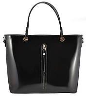 Женская кожаная полированная сумка «Фрида» черная