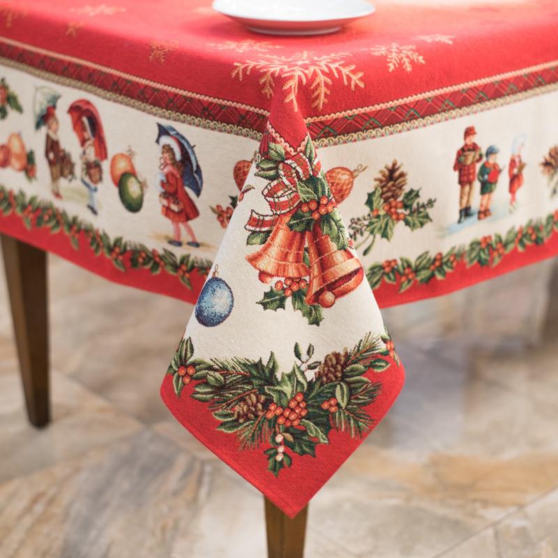 Скатертина гобеленова з люрексом Новорічна Іспанія Villa Grazia Premium Улюблене свято 140x240 см