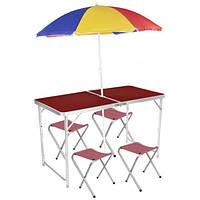 Стол складной для пикника  4 стула, + зонт 170 см Коричневый
