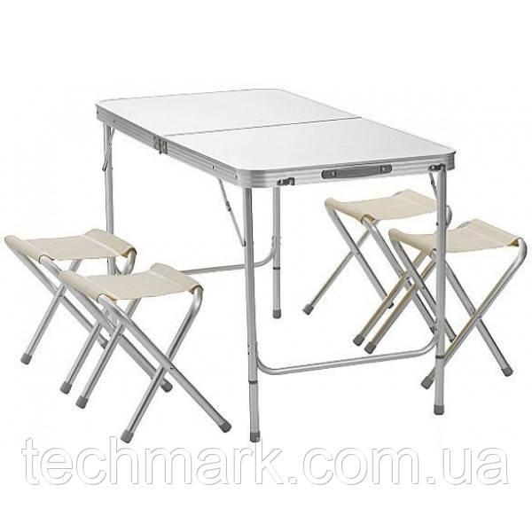 Стол для пикника раскладной алюминиевый + 4 стула Белый