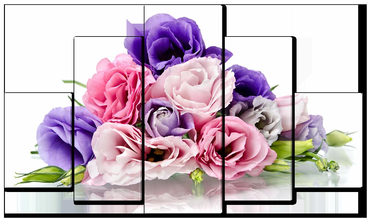 Модульная картина Interno Холст Разноцветные розы  142х80см (R1213L)