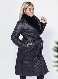 Пальто женское стеганное удлиненное черное Большого размера