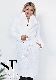 Пальто женское стеганное удлиненное белое Большого размера