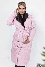 Пальто женское стеганное удлиненное розовое Большого размера