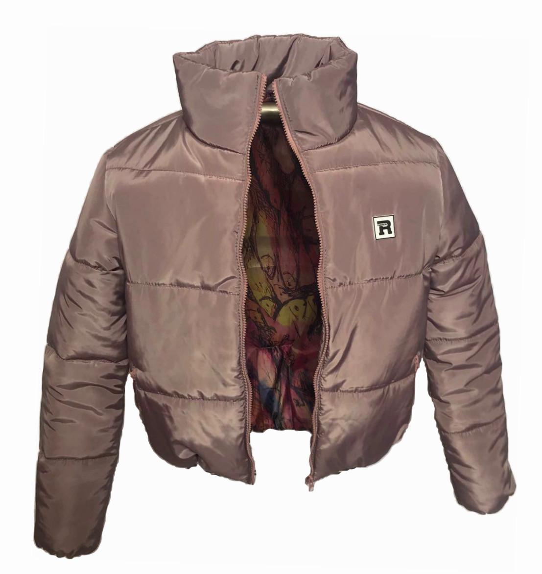 Коротка рожева куртка на силіконі, XS - L