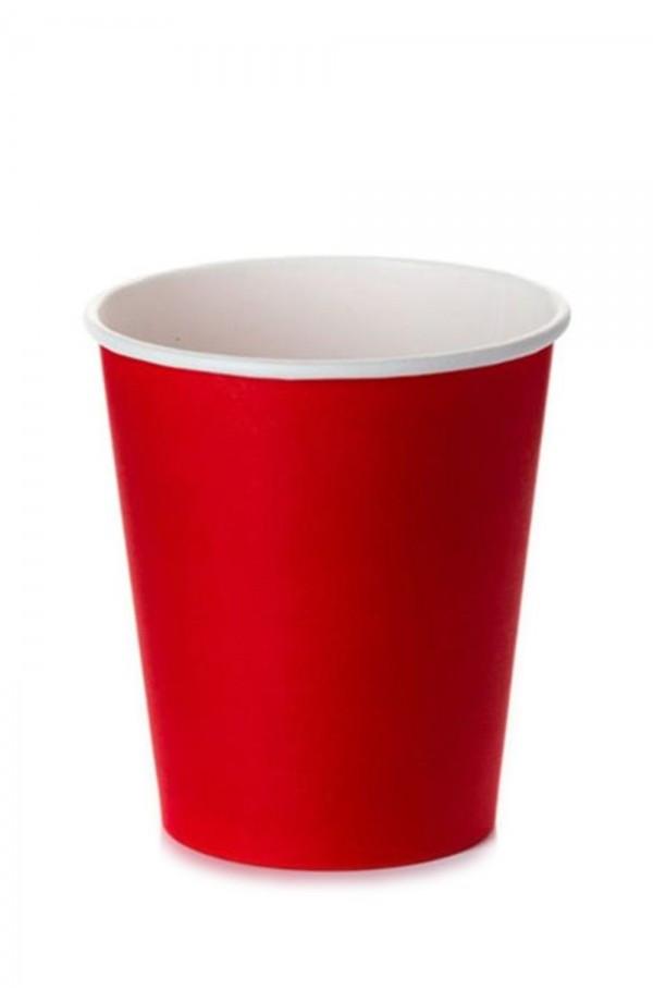 Стакан бумажный 1РЕ одностенный красный 250 мл (8oz) Ǿ=77мм, h=90мм