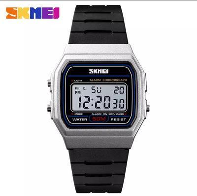 Skmei 1412 серебристые мужские спортивные часы
