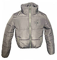 Модная короткая зимняя серая куртка, размеры 42 - 48