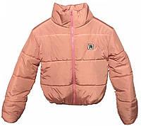 Короткая розовая теплая куртка, от 42 до 48
