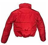 Модная короткая куртка красного цвета, размеры 42-48, фото 3
