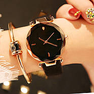 Женские часы Geneva Shine black черные, жіночий наручний годинник, женские наручные часы на батарейке, фото 2