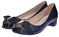 Туфли женские черные на широком каблуке Anna кожаная стелька, Черный, 40