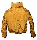 Коротка зимова дута куртка з капюшоном, жовто-гірчичного кольору, 42 - 48, фото 7