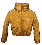 Коротка зимова дута куртка з капюшоном, жовто-гірчичного кольору, 42 - 48, фото 4