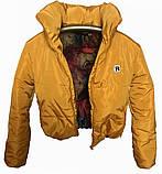 Коротка зимова дута куртка з капюшоном, жовто-гірчичного кольору, 42 - 48, фото 5