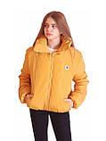 Коротка зимова дута куртка з капюшоном, жовто-гірчичного кольору, 42 - 48, фото 2