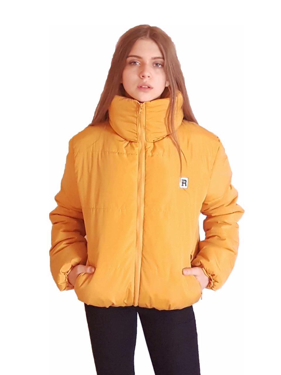 Коротка зимова дута куртка з капюшоном, жовто-гірчичного кольору, 42 - 48