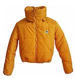 Коротка зимова дута куртка з капюшоном, жовто-гірчичного кольору, 42 - 48, фото 8