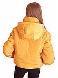 Коротка зимова дута куртка з капюшоном, жовто-гірчичного кольору, 42 - 48, фото 3