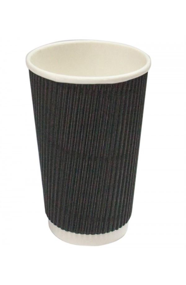 Стакан паперовий гофрований чорний 450мл Ǿ=90мм, h=140мм