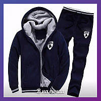 Мужской теплый зимний спортивный костюм трехнить с мехом темно-синий 44 46 48 50 52 54 56, фото 1