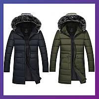 Мужская зимняя теплая куртка канада на силиконе хаки чёрный темно синий 44 46 48 50 52 54 56