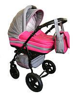 Универсальная коляска 2 в 1 Trans baby Mars, с.серый+я.розовый