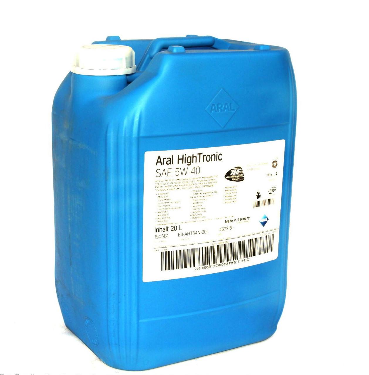 Моторное масло Aral HighTronic 5W40 (20л) API SN/CF, ACEA C3