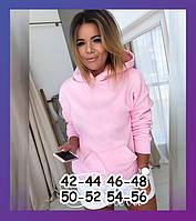 Женский теплый батник с капюшоном и карманом на флисе чёрный красный розовый хаки 42-44 46-48 50-52 54-56, фото 1