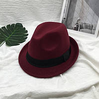 Шляпа унисекс Челентанка бордовая, фото 1