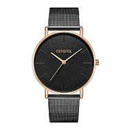Женские часы Geneva Classic steel watch черные, жіночий наручний годинник, наручные кварцевые часы Женева, фото 3