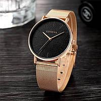 Женские часы Geneva Classic steel watch розовое золото, жіночий наручний годинник, кварцевые часы, часы Женева
