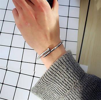 Женский браслет гвоздь серебряный цвет, Жіночий браслет гвіздок, Браслетик в форме гвоздя