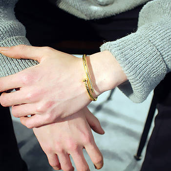 Женский браслет гвоздь золотой цвет, Жіночий браслет гвіздок, Браслетик в форме гвоздя