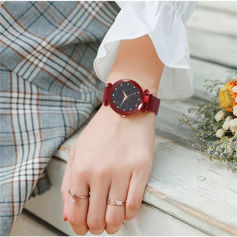 Женские часы на магнитной застежке Starry Sky красные, жіночий годинник,часы Звездное небо на магните