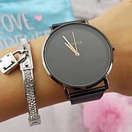 Женские часы Geneva Classic steel watch черные, жіночий наручний годинник, наручные кварцевые часы Женева, фото 2