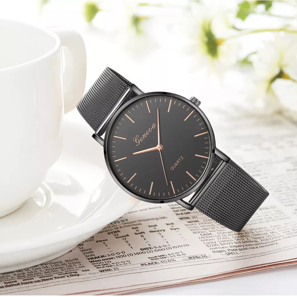 Женские часы Geneva Classic steel watch черные, жіночий наручний годинник, наручные кварцевые часы Женева