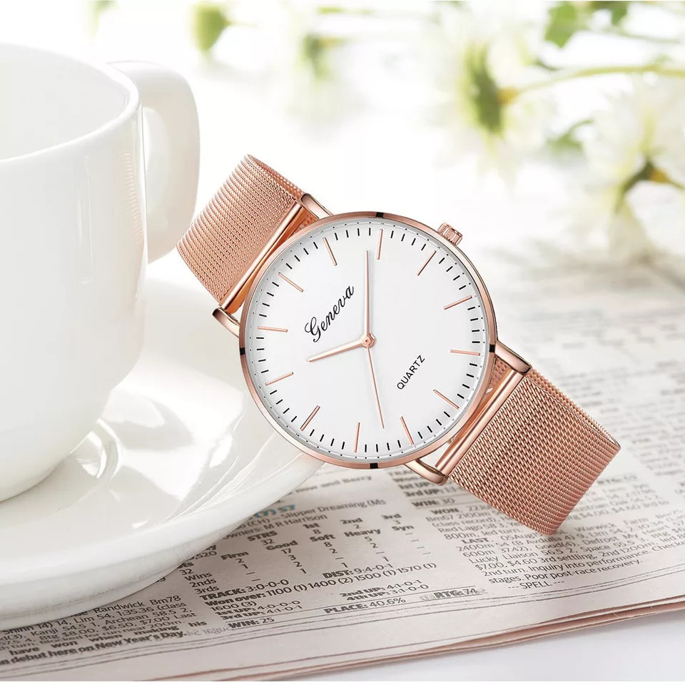 Женские часы Geneva Classic steel watch розовое золото, жіночий наручний годинник, наручные кварцевые часы