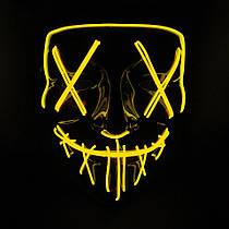 Неоновая маска судная ночь SoFun LED светящаяся желтая