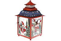 Декоративный фонарь подсвечник, 39 см, цвет - красный с синим