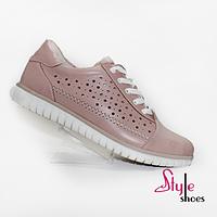 Розовые женские кроссовки из кожи