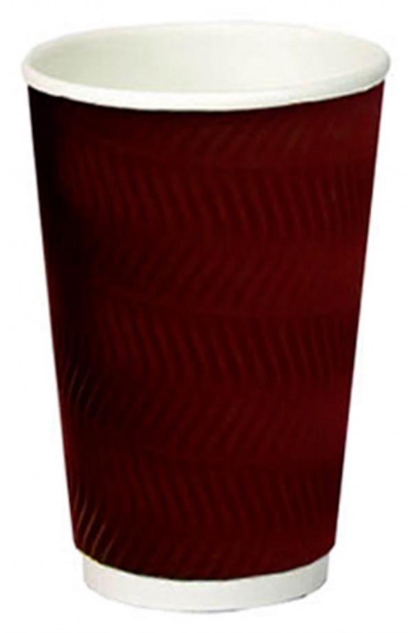Стакан одноразовый 450 мл. 9х14см., S-волна бумажный, гофрированный, коричневый (010609)