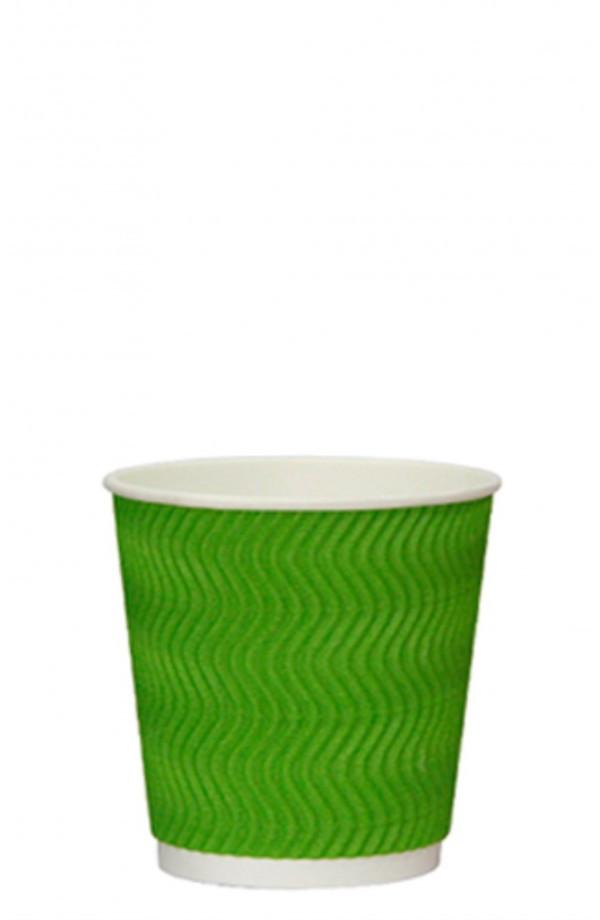 Стакан бумажный гофрированный S-волна зеленый 185мл Ǿ=72мм, h=72мм